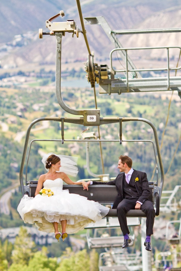 Bride and Groom on the Chair lift in Beaver Creek Co.