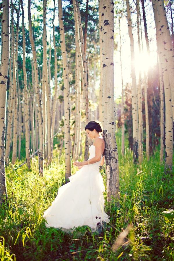 Bride in the Aspen trees on Beaver Creek