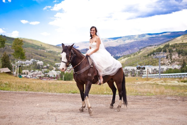 Bride Riding a Horse in Beaver Creek