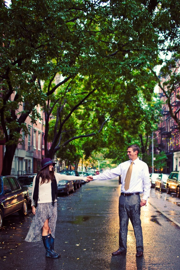 Engagement Photography in New York City in the rain.