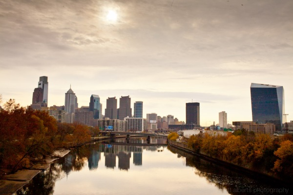 The Philadelphia skyline reflected in the schuylkill river