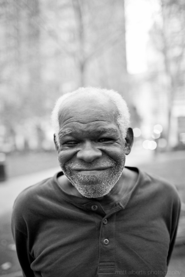 Portrait of a homeless man in Philadelphia PA