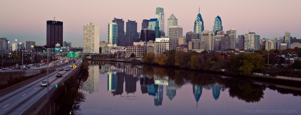 Amazing shot of the Philadelphia Sky line