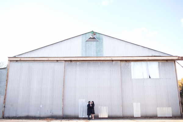 engagement photography in an old airport hanger